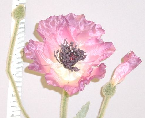 Silk Poppy with 2 buds  From Thailand millinery supply