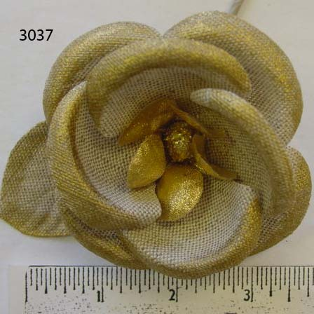 Course Weave Gold Fabric Wild Rose floral trim