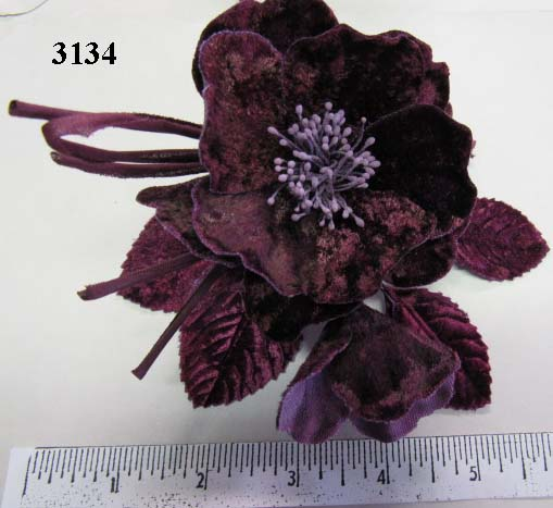Large Velvet Blossom With Bud foor millinery supply