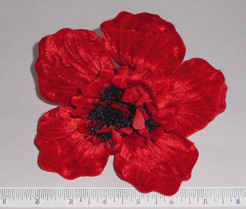 Velvet Poppy hat trim