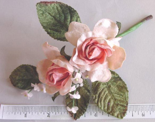 Velvet Rose Bud by 2 with Forget-me-nots hair accessory
