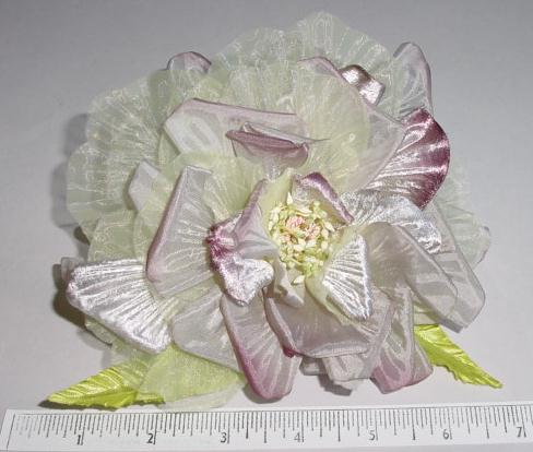 Large Silk Open Rose hat trim