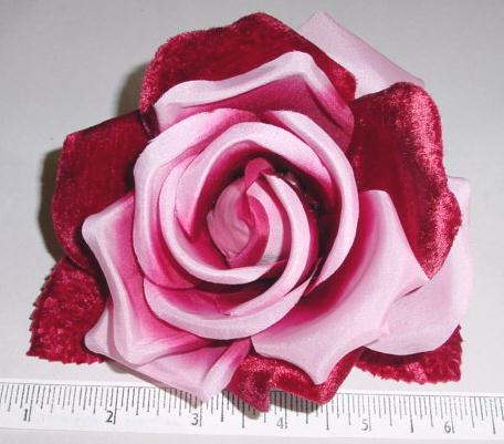 Silk & Velvet Rose dress or hair  trim