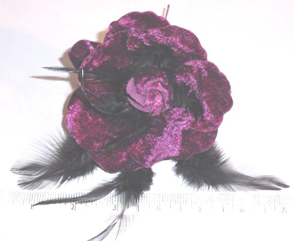 Velvet Blossom with Feathers  hair accessory