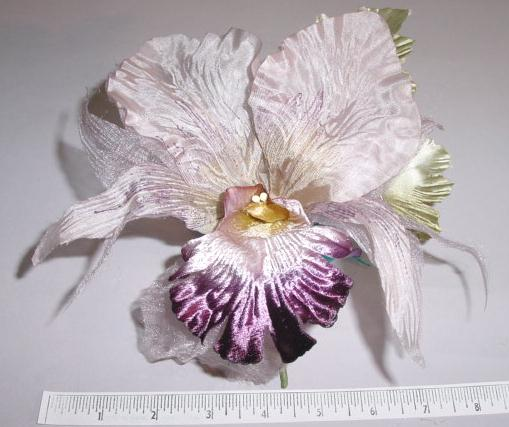 Large Orchid 2 Leaves flower pin