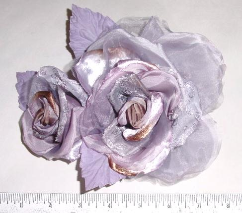 Brocade Rose & Bud stunning for millinery or bridal