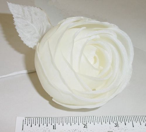 Rolled Silk Rose & 2 Leaves delicate silk floral