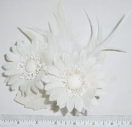 Course Weave Fabric Daisy by 2 with feathers  fascinator waitong to be made