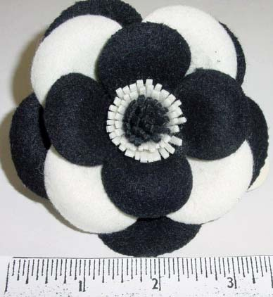 Black & White Felt Blossom hat trim