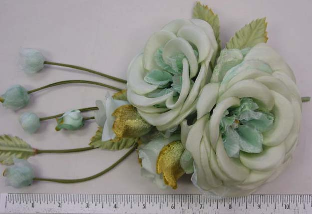 Silk & Brocaded material Rose & buds  mother of the bride flower pin