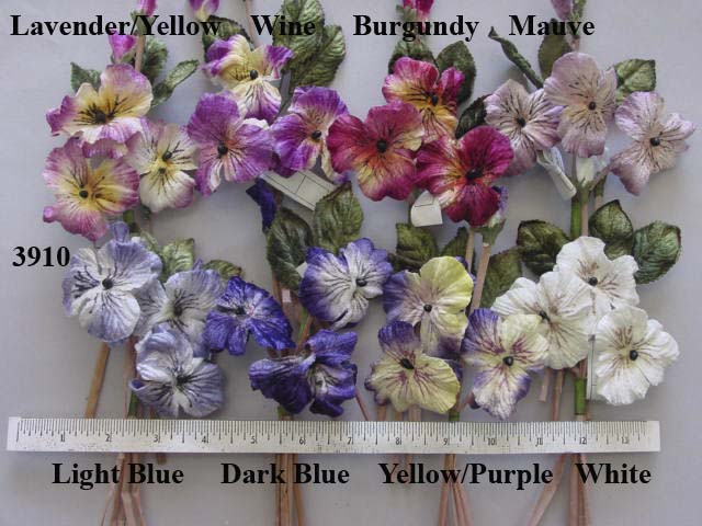 Pansy Cluster by 3 artifical flower  millinery supply trim