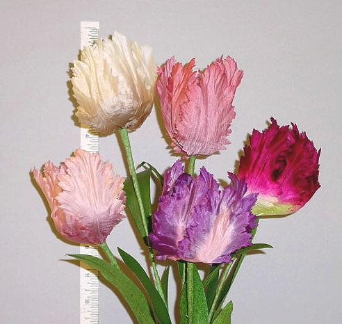 Silk Double Petal Parrot Tulip  --individually wired stem home d