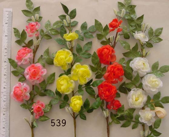 Vintage German Wild Rose Branch with Pussy Willows display flower