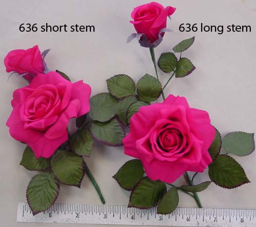 Long Stem Crepe Silk Rose, Can be made into a broach